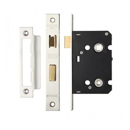 63mm Mortice Bathroom Lock Satin Stainless Steel