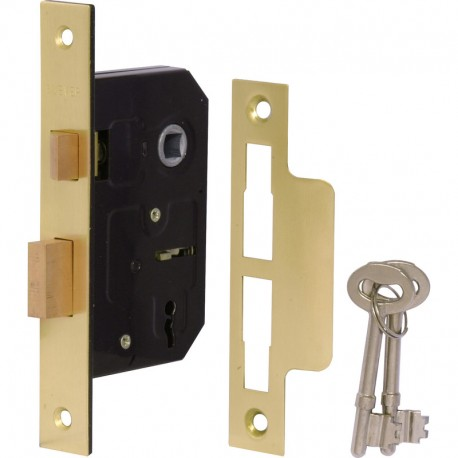 63mm 3 Lever Mortice Sashlock Electro Brass