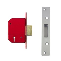 ERA 63mm High Security Fortress Mortice Deadlock c/w 44mm Backset Satin Chrome