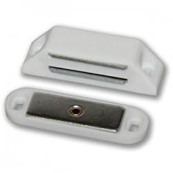 60mm x 16mm Magnetic Catch with 14lb Pull White Plastic