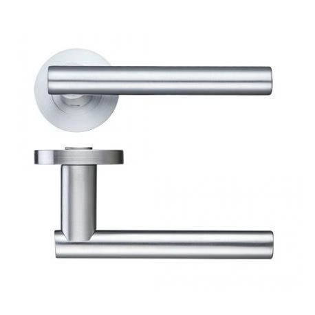 Lucca Lever On Screw On Round Rose - Satin Chrome