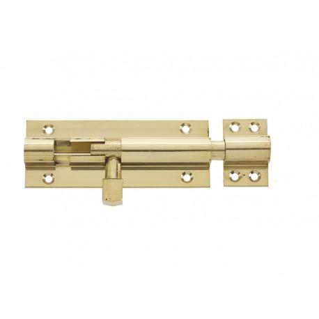 100mm x 25mm Straight Barrel Bolt c/w Standard Keep - Polished Brass