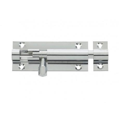 150mm x 25mm Straight Barrel Bolt c/w Standard Keep - Polished Chrome