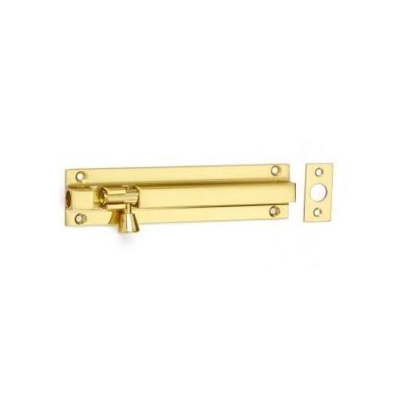 152mm x 28mm Straight Barrel Bolt c/w Flat Keep - Polished Brass