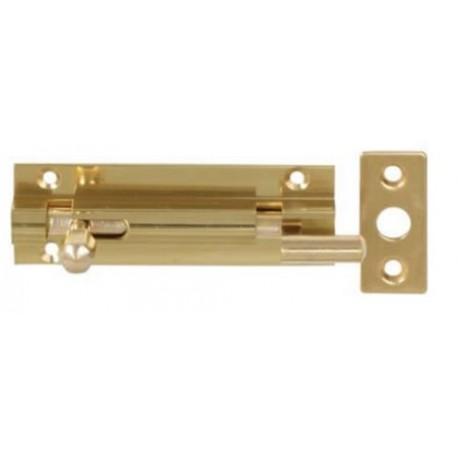 100mm x 25mm Cranked Barrel Bolt c/w Flat Keep - Polished Brass