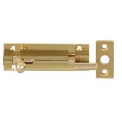 150mm x 25mm Cranked Barrel Bolt c/w Flat Keep - Polished Brass