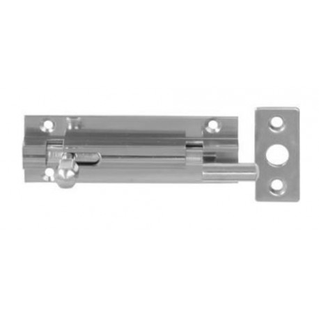 150mm x 25mm Cranked Barrel Bolt c/w Flat Keep - Polished Chrome