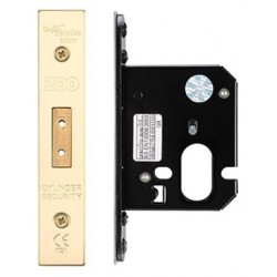 64mm Oval Profile Mortice Deadlock Case c/w 44mm Backset Polished Brass