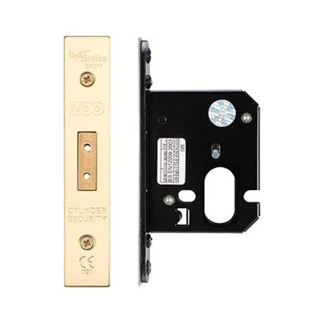 64mm Oval Profile Mortice Deadlock Case c/w 44mm Backset Polished Brass