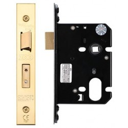 76mm Oval Profile Mortice Sashlock Case Only c/w 48.5mm Centres & 57mm Backset Polished Brass