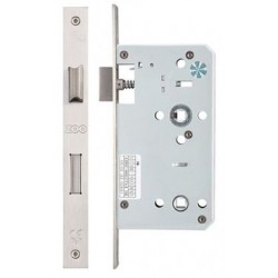 DIN Standard 60mm Backset Mortice Bathroom Lock c/w 78mm Centres & 5mm Follower Satin Stainless Steel