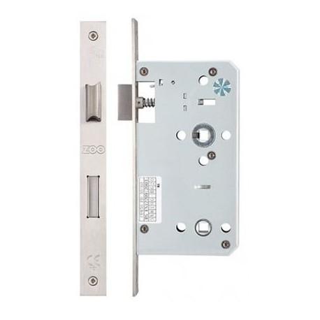 DIN Standard 60mm Backset Mortice Bathroom Lock c/w 78mm Centres & 5mm Follower Satin Stainless Steel