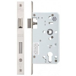 DIN Standard 60mm Backset Euro Profile Sashlock Case Only c/w 72mm Centres Satin Stainless Steel