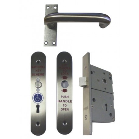 Disabled Toilet Radar Lock Set Left Hand - Satin Stainless Steel
