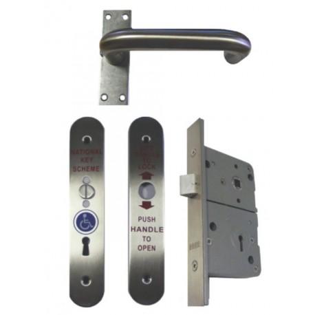 Disabled Toilet Radar Lock Set Right Hand Satin Stainless Steel