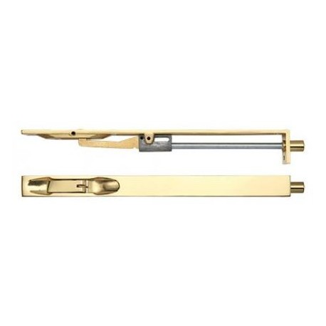 200mm Lever Action Flush Bolt Polished Brass