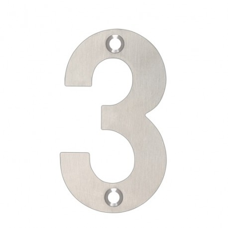 """75mm Numeral """"3"""" Satin Stainless Steel"""
