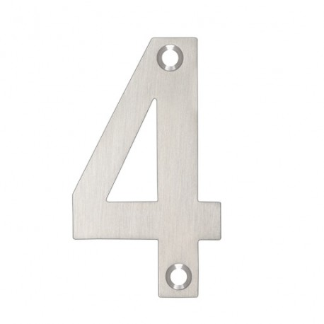 """75mm Numeral """"4"""" Satin Stainless Steel"""