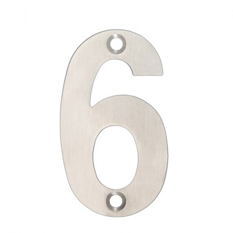 """75mm Numeral """"6"""" Satin Stainless Steel"""