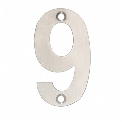"75mm Face Fix Door Number ""9"" - Satin Stainless Steel"