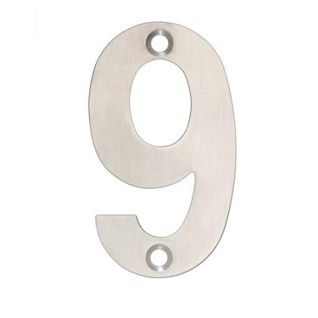 """75mm Face Fix Door Number """"9"""" - Satin Stainless Steel"""