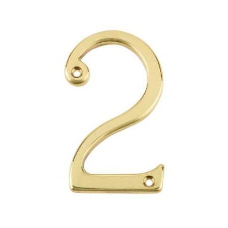"Jedo 75mm Numeral ""2"" Polished Brass"