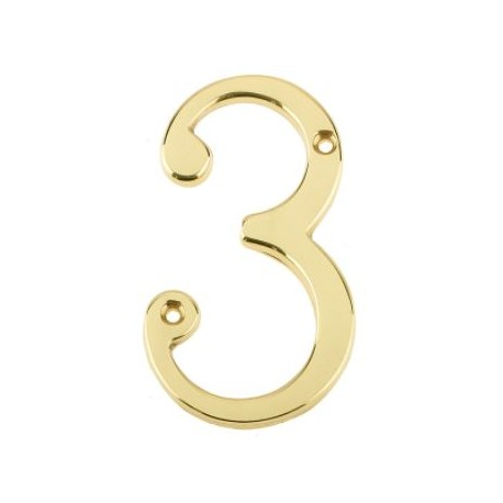 "Jedo 75mm Numeral ""3"" Polished Brass"