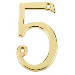 "75mm Numeral ""5"" Polished Brass"