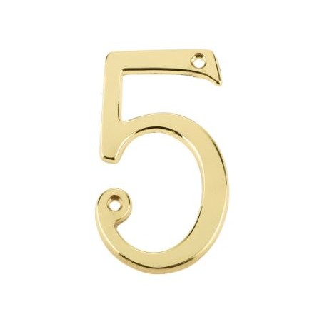 """75mm Numeral """"5"""" Polished Brass"""
