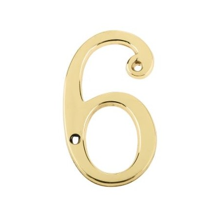 """75mm Numeral """"6"""" Polished Brass"""