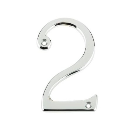 "Jedo 75mm Numeral ""2"" Polished Chrome"