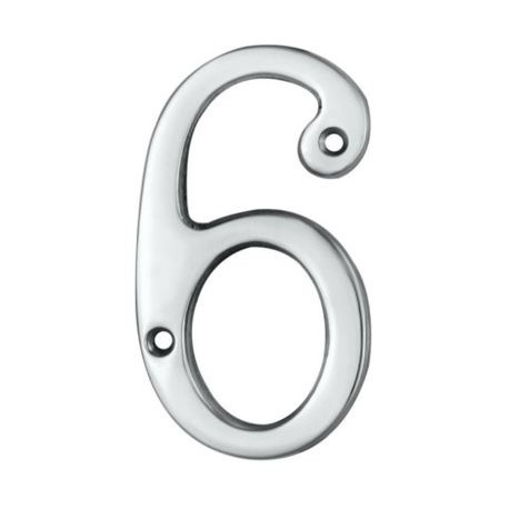"Jedo 75mm Numeral ""6"" Polished Chrome"