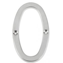 "75mm Face Fix Door Number ""0"" - Satin Chrome"