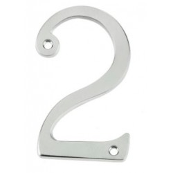 "75mm Face Fix Door Number ""2"" - Satin Chrome"