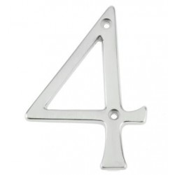 "75mm Face Fix Door Number ""4"" - Satin Chrome"