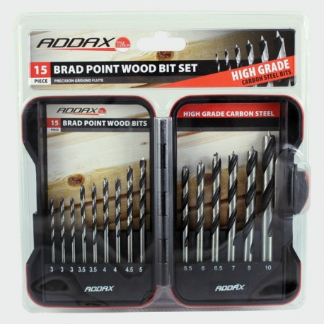 Addax Carbon Steel 15 Piece Brad Point Wood Bit Set (3mm to 10mm)