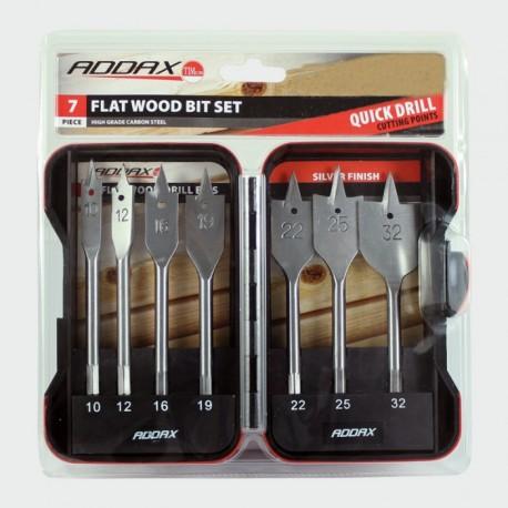 Addax 7 Piece Carbon Steel Flat Wood Bit Set (10mm 12mm 16mm 19mm 22mm 25mm 32mm)