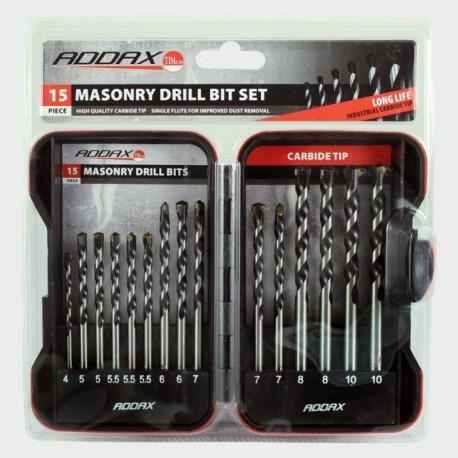 Addax 15 Piece Carbon Tipped Masonry Drill Bit Set (4mm to 10mm)