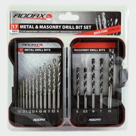Addax 17 Piece Metal & Masonry Drill Bit Set (Metal 1.5mm to 6mm) (Masonry 5mm to 10mm)