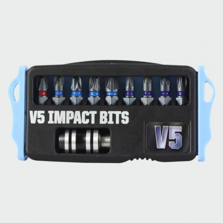 V5 Extreme Impact Mixed 10 Piece Set of Screwdriver Bits c/w Hex Quick Relase Adapter