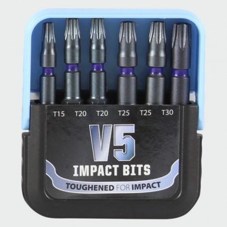 V5 Extreme Impact T Drive 6 Piece Set of 50mm Screwdriver Bits (T15 T20 T20 T30)