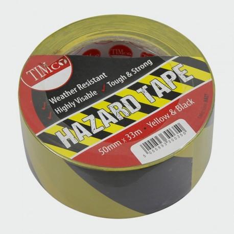 PVC Hazard Tape - 50 x 33Mtr - Black/Yellow