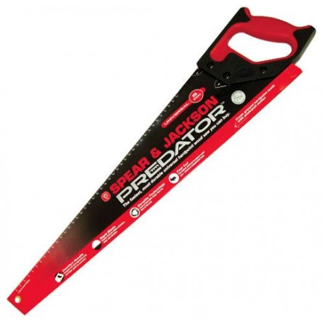 "Spear & Jackson 22"" Predator Universal Medium Cut Hard Point Saw c/w 8pts - Red"