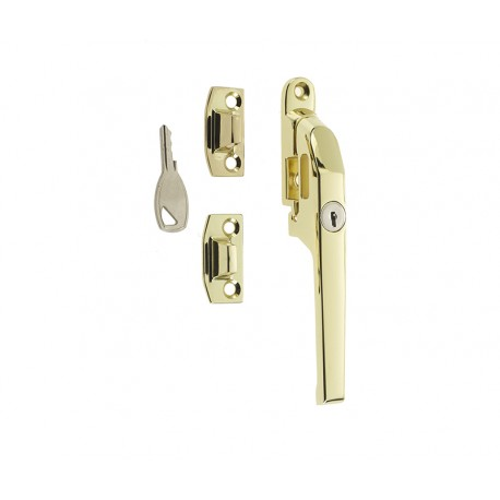 Modern Locking Casement Fastener c/w Wedge Plate Polished Brass