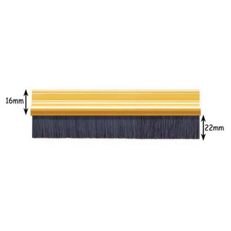 Exitex Bottom Of The Door 22mm Brush Strip Silver