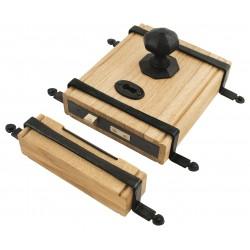 From The Anvil Black Oak Box Lock & Octagonal Knob Set