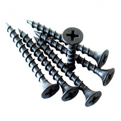 3.5mm x 50mm Drywall Screws c/w Phillips Bugle Head Black Phosphate