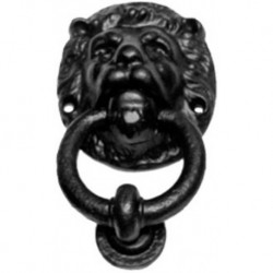 Trent 150mm Lion Head Door Knocker Black Antique