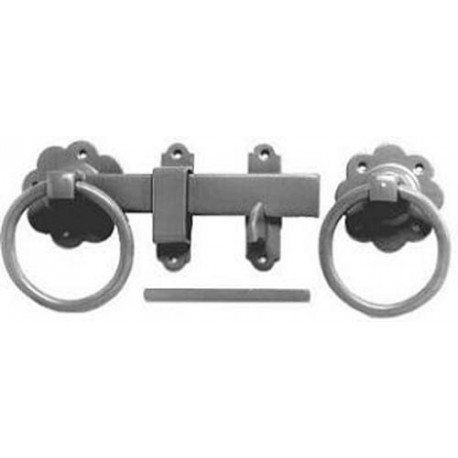 150mm Plain Ring Handle Gate Latch Set Galvanised