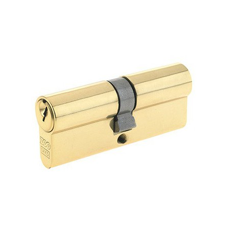 5 Pin 35mm x 35mm Euro Profile Double Cylinder Polished Brass